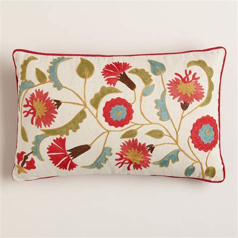 Pillow With Embroider S suzani embroidered lumbar pillow world market