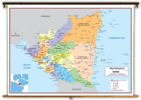 political map of nicaragua nicaragua political educational wall map from academia maps