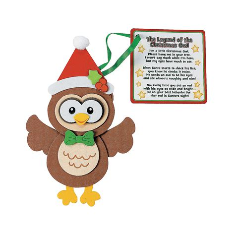 owl christmas ornament with poem craft kit oriental trading