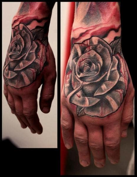 old flower hand rose tattoo by extreme needle