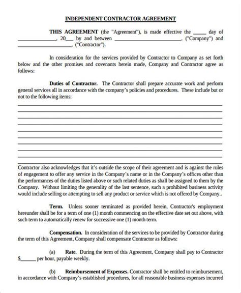 independent contractor agreement california template contractor agreement form independent contractor
