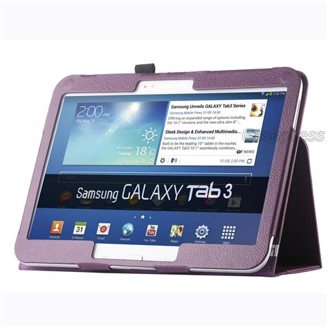 Samsung Tab 3 10 Inch Second folio pu leather cover for samsung galaxy tab 3 10 1 10 inch p5200 p5210 ebay