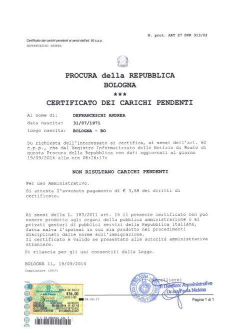 prefettura di pavia cittadinanza quot nessun carico pendente quot 1 di 2 bologna repubblica it