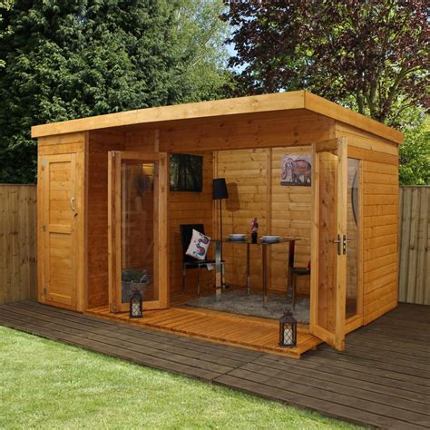 12x8 wooden contemporary shiplap t g summerhouse side shed felt 12ft ebay