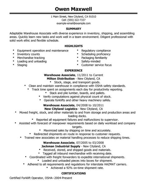 warehouse objective resume 28 images doc 596842