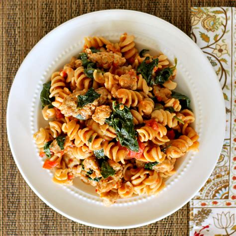 pasta sausage skillet sausage pasta with spinach restaurant quality in