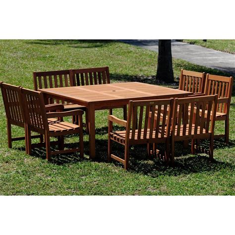 Square Patio Table For 8 Amazonia Deluxe 9 Eucalyptus Wood Square Patio Dining Set Bt Square Deluxe Set