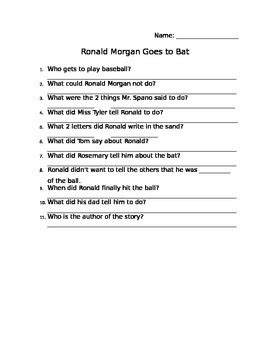 ronald goes to bat ronald goes to bat comprehension sheet by the fresh