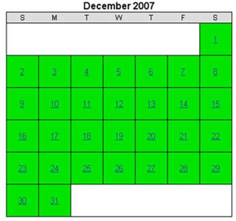 December 2007 Calendar Spare The Air Historical Air Quality Calendar