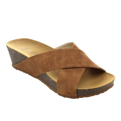 Wedges Slipon Levis beston s slip on criss cross low platform wedge sandals beige size 7 75 ebay