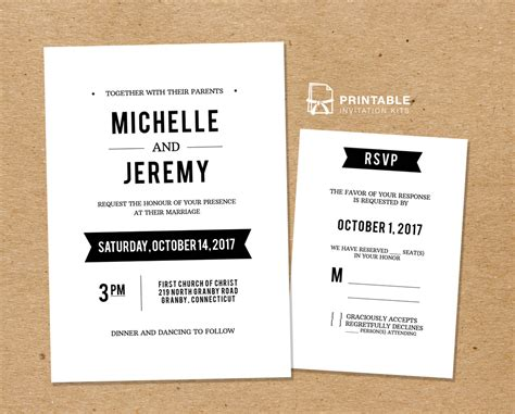 wedding invitation rsvp card template clean fonts printable wedding invitation template and