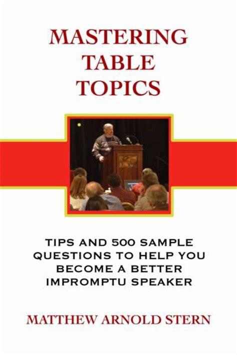 mastering table topics matthew arnold