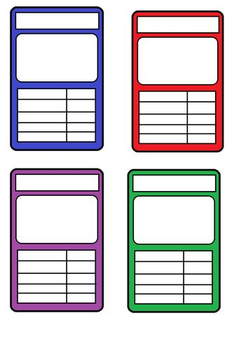 Card Design Templates Ks2 by Blank Top Trumps Card Clipart Best