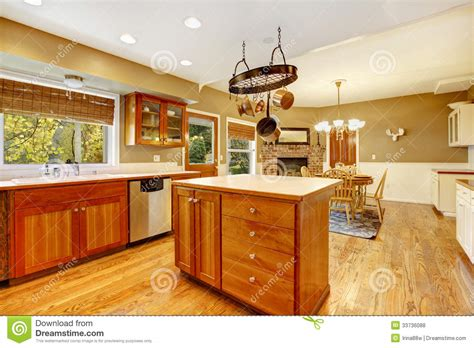 Kitchen Floor Plans With Island Country Farm Large Kitchen Interior Royalty Free Stock