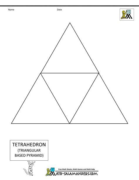 tetrahedron template 3d geometric shapes nets