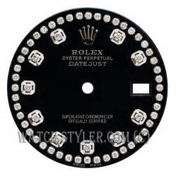 Custom rolex mens datejust dial black with diamond string ss