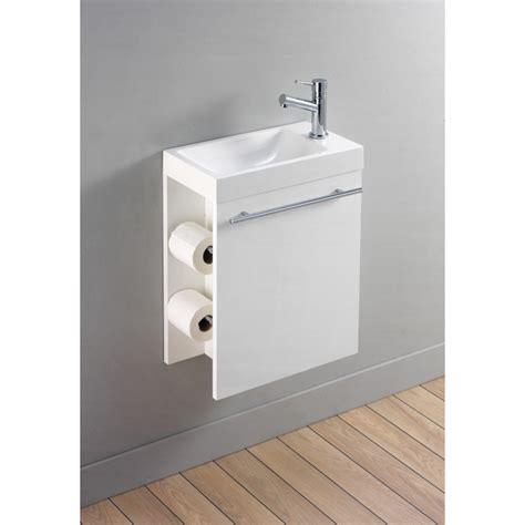 meuble lave toilette kit lave mains et distributeur papier toilette blanc planete bain