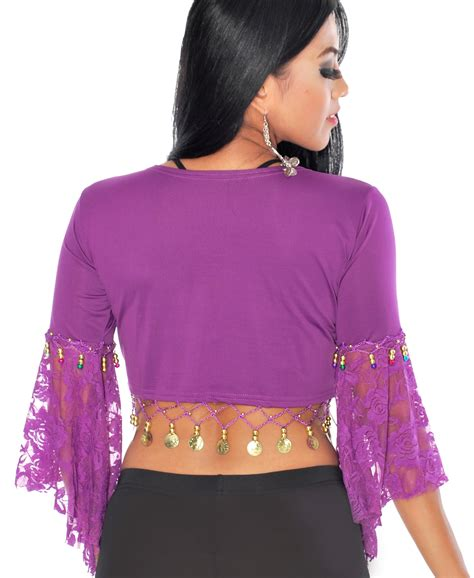 26426 Coin Lace Blouse top with lace butterfly sleeves and coins in purple