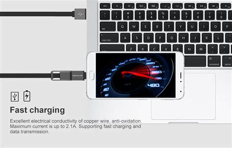 Nillkin Plus Cable 2 In 1 Charging Cable Lightning Micro Usb Graybl nillkin plus cable 2 in 1 charging cable type c micro