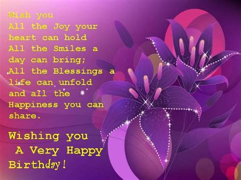Birthday Cards For A Special Purple Birthday Wishes For Her Special Birthday For A