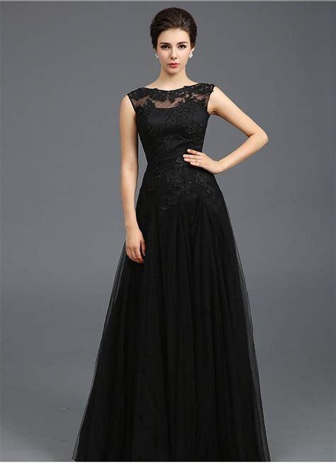 Modest 2015 Black Tulle A Line Evening Dresses Sheer Jewel Capped Cocktail Dresses Applique Lace