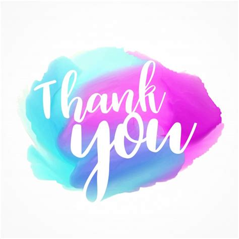 watercolors with thank you text vector free