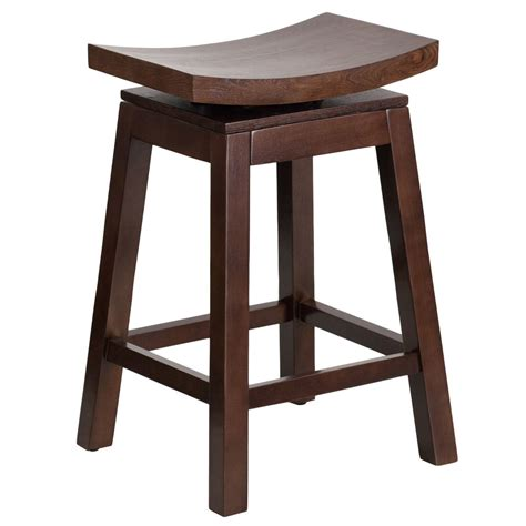 Bar Stools Ta by Flash Furniture Ta Saddle 2 Gg Cappuccino Wood Counter Height Stool With Auto Swivel Seat