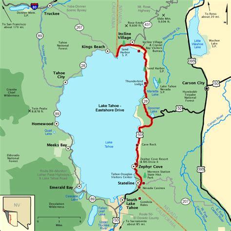 lake tahoe map lake tahoe eastshore drive map america s byways