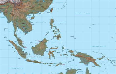 southeast asia geography map physical map of southeast asia roundtripticket me