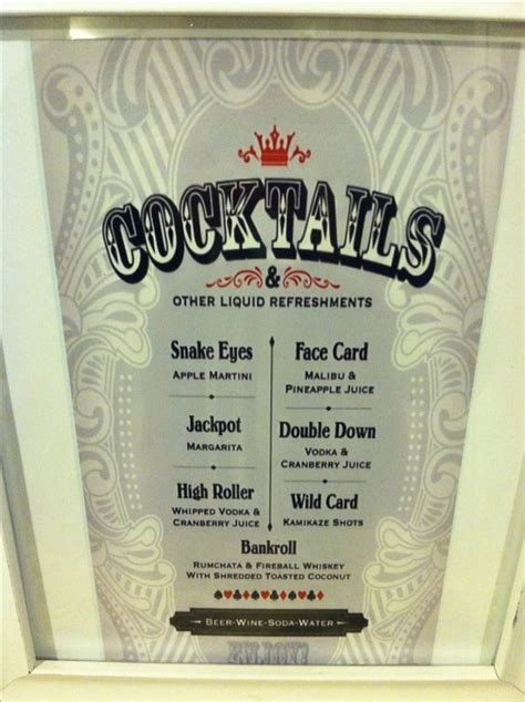 cocktail themed names casino night cocktails menu by fresh baked designs on etsy