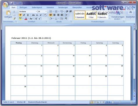 Calendar In Word Smarttools Kalender Assistent 5 0 F 252 R Word