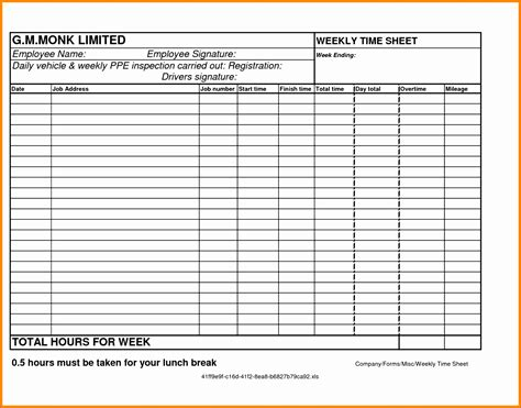 printable time sheets pdf 6 weekly time sheets exceltemplates exceltemplates