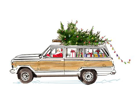 christmas jeep card jeep grand wagoneer santa holiday greeting card 8x10 wood
