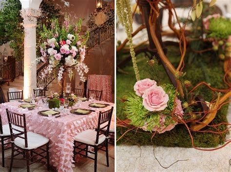 elegant enchanted garden pink  green wedding