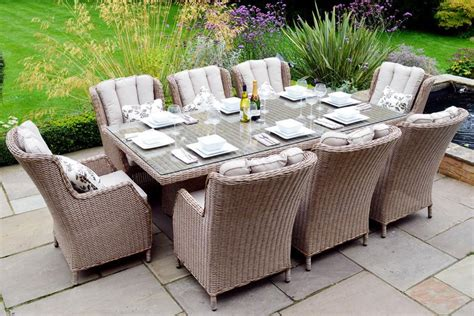 Portland 6 Seater Dining Set With Pit 163 1650 Garden4less Uk Shop Patio Furniture Set With Pit Table Amalia 4 Person Luxury Cast Aluminum Patio Furniture