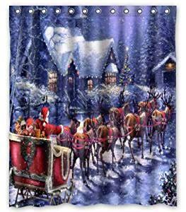 curtain eve 6 com shower curtain christmas eve santa sleigh