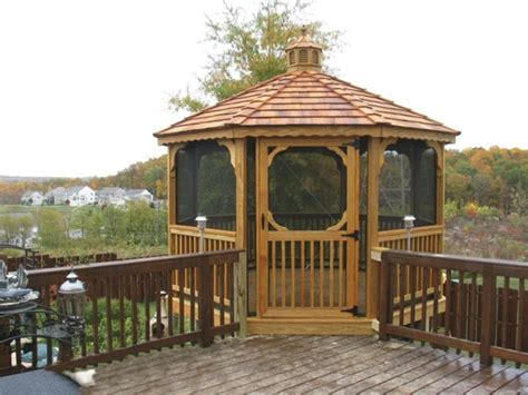 gazebo deck screened gazebo with deck gazebos