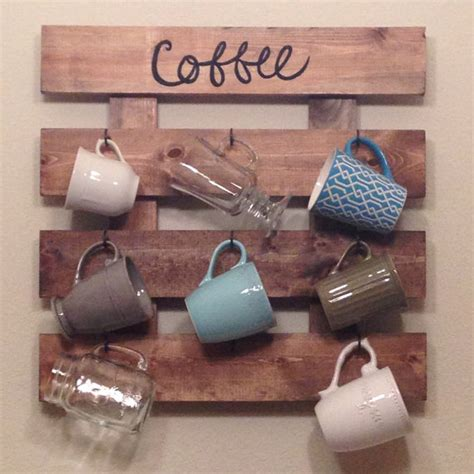 Wooden Mug Rack Wall by Coffee Mug Rack Reclaimed Wood Look Coffee Cup By