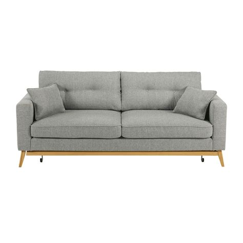 3 seater light grey fabric sofa bed brooke maisons du monde
