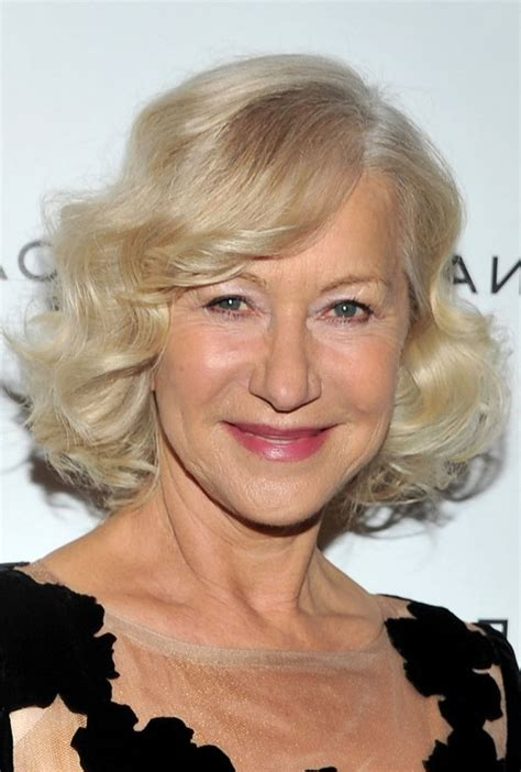 curly hair style for over 60 helen mirren chic short blonde curly bob hairstyle for