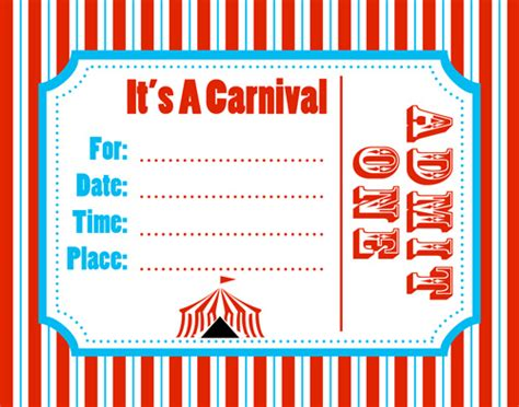 printable birthday invitations carnival theme carnival invitation template best template collection