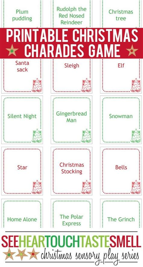 Printable Christmas Charades | christmas charades game printable game cards christmas