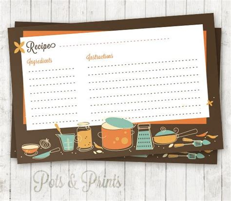 6x4 recipe card template printable recipe card retro kitchen recipe cards 6x4 by
