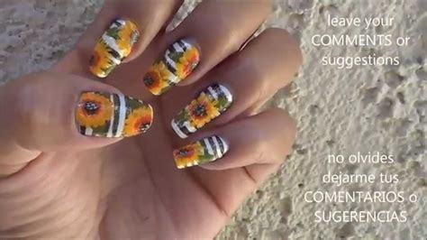 imagenes de uñas pintadas con girasoles sunflower nails u 241 as de girasoles easy nails youtube