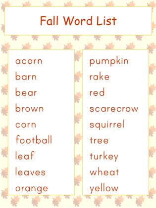 autumn jigsaw word match worksheets