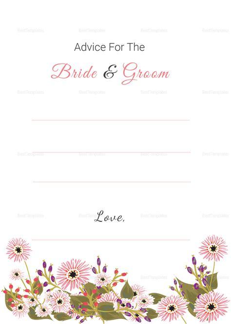 bridal advice cards template floral wedding advice card design template in illustrator