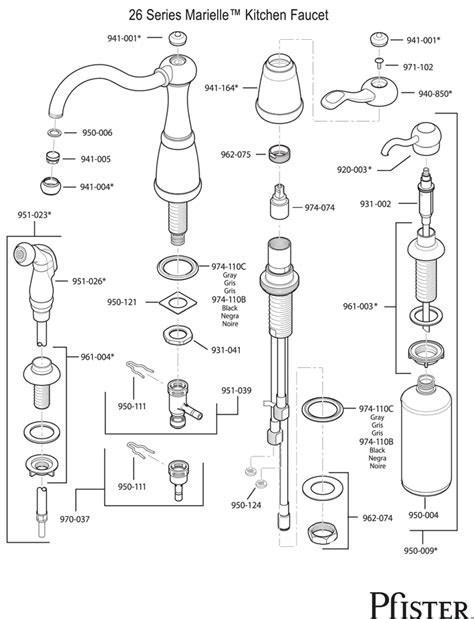price pfister marielle kitchen faucet parts 26 series marielle