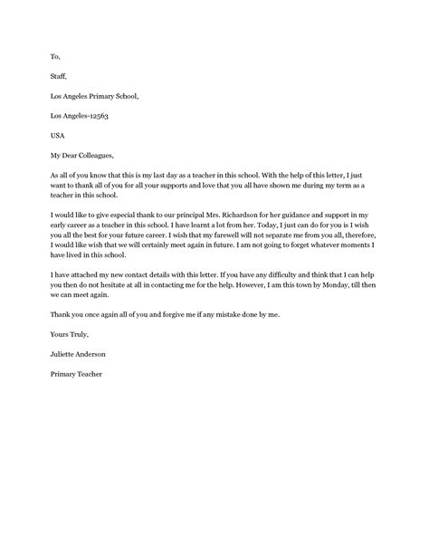 sle of farewell letter goodbye letter to colleagues a farewell letter to