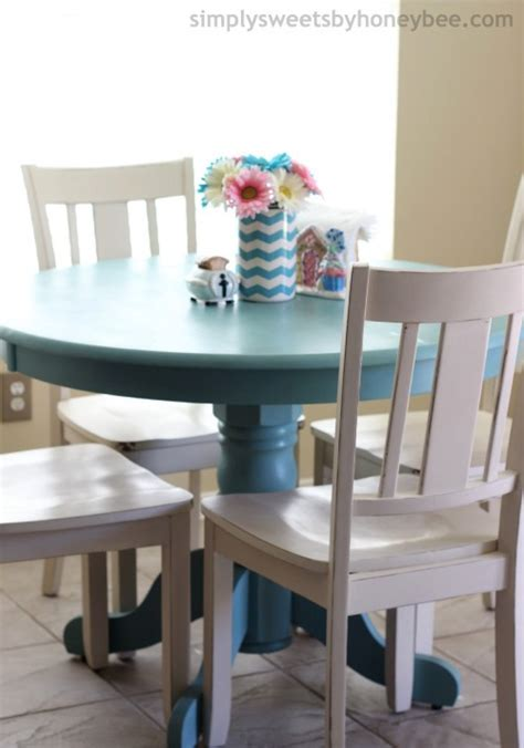 Blue Kitchen Table Set Transforming A Table Chairs With Sloan Chalk Paint Simplysweetsbyhoneybee