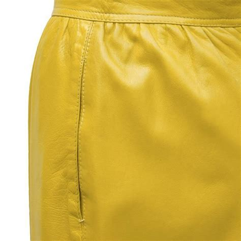 1980 s emanuel ungaro mustard leather skirt for sale at